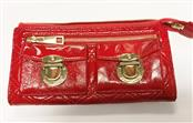 MARC JACOBS RED QUILTED ZIP TOP WALLET